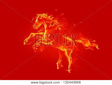 Fire horse. 3d illustration.