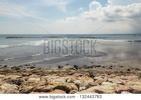 Sunny day in Kuta Beach in Bali Indonesia