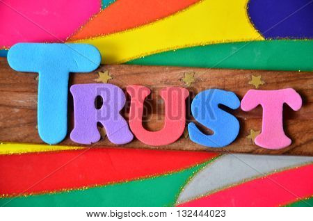 trust word on a  abstract colorful background
