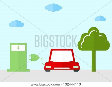 Energy fuel icons. Flat style. Safe and environmentally friendly fuels. The ecology of the planet icons. Charging the car. An electric plug. Gas station. Vector illustration.