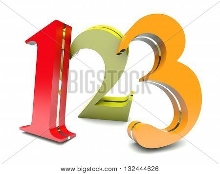 123 colorful numbers on white background in 3D render