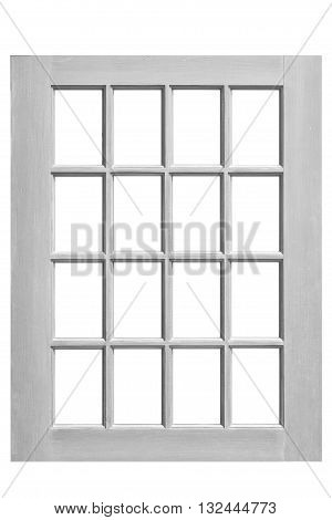 Wood window frame isolated on white background