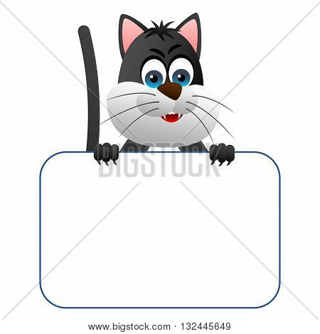 Clipart picture of a cat cartoon character holding a blank board.