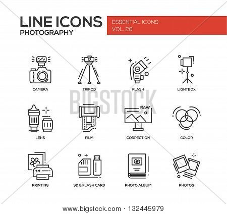 Set of modern vector simple line design icons and pictograms of photography tools and equipment. Camera, lightbox, tripod, flash, lens, film, color, correction, photos, printing