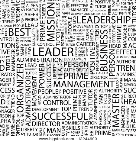 LEADER. Seamless vector pattern with word cloud. Illustration with different association terms.