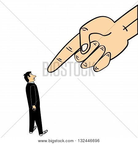 A giant hand in the sky points a finger down at a man wearing a business suit