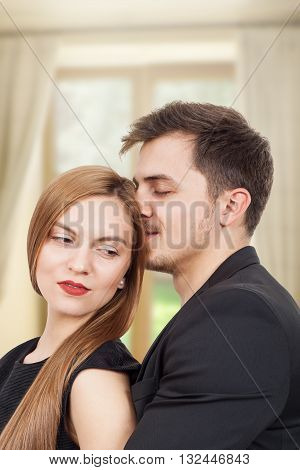Pair of young lovers enjoying a moment of joy