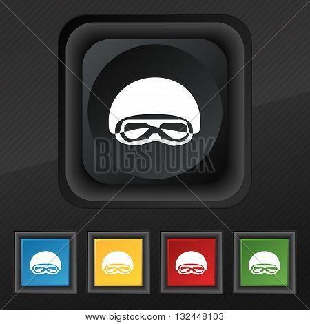 In A Ski Masks, Snowboard Ski Goggles, Diving Mask Icon Symbol. Set Of Five Colorful, Stylish Button