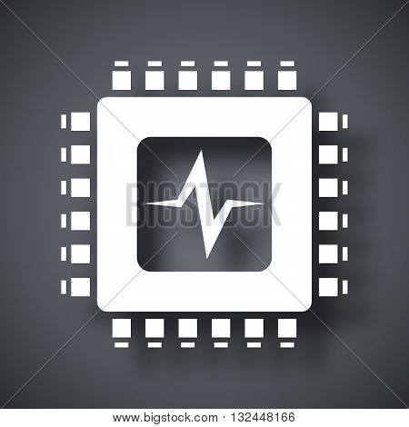 Vector CPU or Processor test icon. CPU or Processor test simple icon on a dark gray background