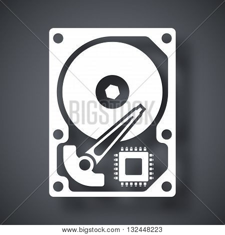 Vector HDD icon. Hard Disk Drive simple icon on a dark gray background