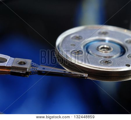 Close up of hard disk drive is a data storage device used for storing and retrieving digital information using rapidly rotating disks (platters) coated with magnetic material / hard disk drive