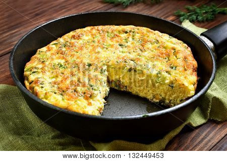Omelet in frying pan close up view
