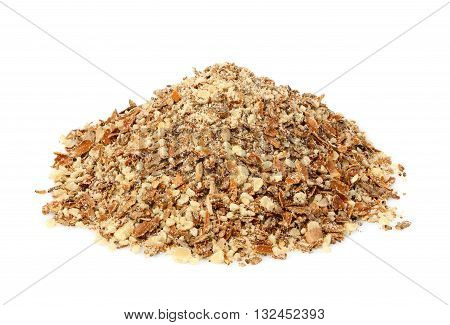 Crushed Seeds of a Milk Thistle (Silybum marianumScotch ThistleMarian Thistle).