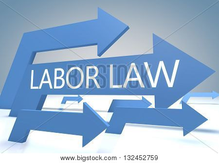 Labor Law 3d render concept with blue arrows on a bluegrey background.