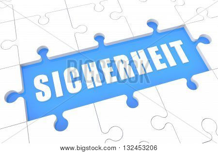Sicherheit - german word for safety or security - puzzle 3d render illustration with word on blue background