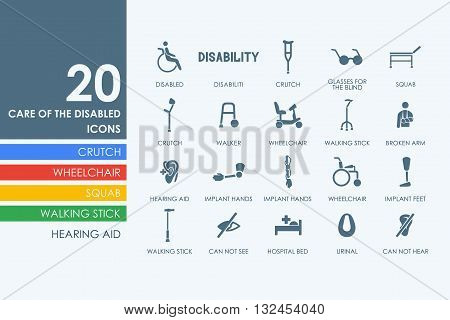 people with disabilities vector set of modern simple icons