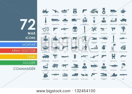 war vector set of modern simple icons