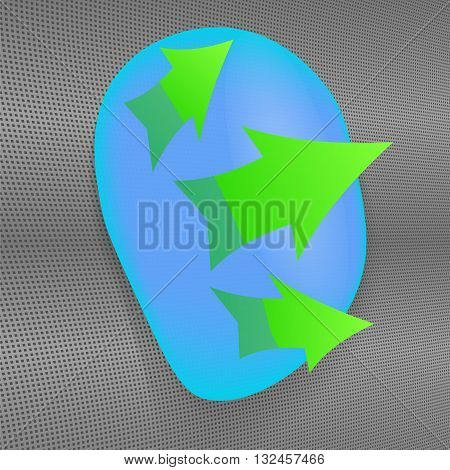 A drop of water on hydrophobic material. Three green arrows. Vector, eps10.