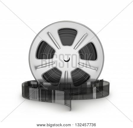 Movie films spool with film. 3d illustration