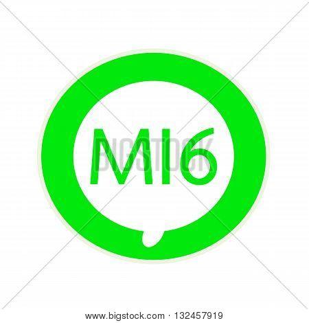 a green wording on Circular white speech bubble