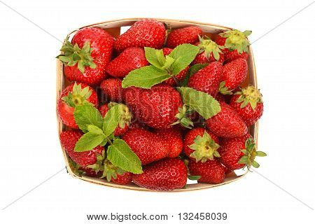 Strawberry And Mint In Basket Isolated On White