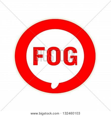 FOG red wording on Circular white speech bubble
