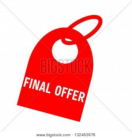 Final offer white wording on background red key chain