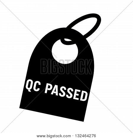 QC PASSED white wording on background black key chain