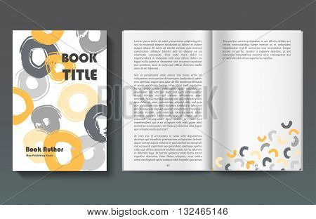 Vector minimalistic book cover and pages, hand drawn circles and stains pattern on white, modern template, book design poster