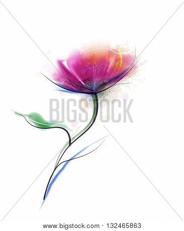 Vector watercolor painting purple cosmos flower on white paper background. Flower vector red floral water color. Sketch flower paint in pastel colors. Painted watercolour flower background