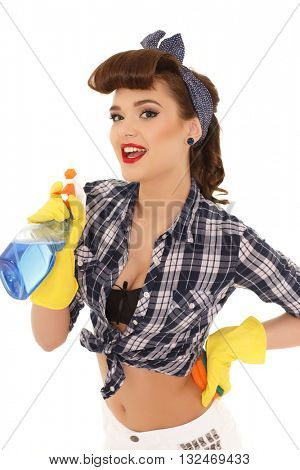 Young woman with spray bottle and sponge on a  white background.  Housekeeping. Cleaning woman. poster