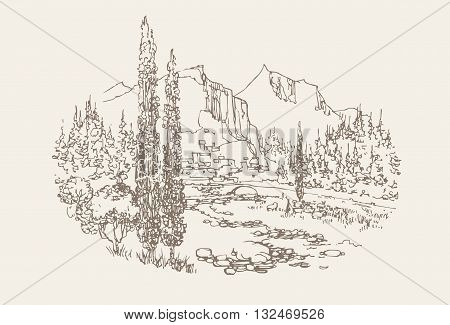 Vector hand drawn mountan landscape. Nature illustration.