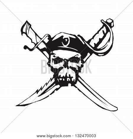 Vector handdrawn illustration. Black jolly roger pirate symbol on white background. Tattoo design.