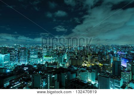 Sao Paulo skyline at night, Brazil