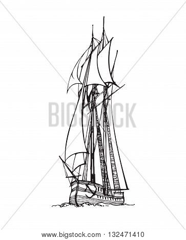 Vector handdrawn illustration. Black sail ship on white background.