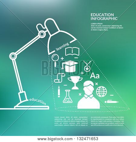 Vector illustration in the silhouette style for Education infographics. Icons and illustration for design site infographics poster advertising on blurred green background