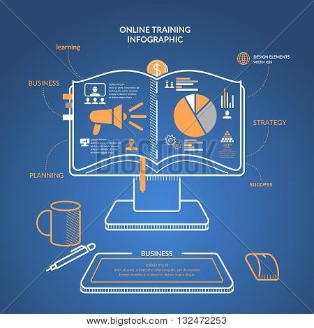 Vector illustration online training revenue and success. With the book and icons for Business infographic in linear flat style. For website design infographics poster presentations and advertising.