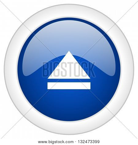 eject icon, circle blue glossy internet button, web and mobile app illustration