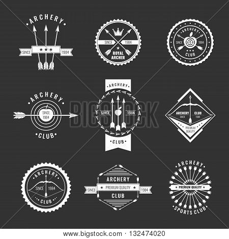 A set of logos labels and elements for the club of archery in linear style on a black background. Suitable for design advertising posters.
