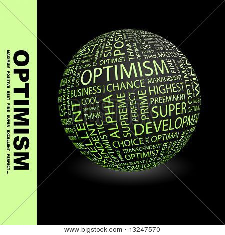 OPTIMISM. Globe with different association terms.