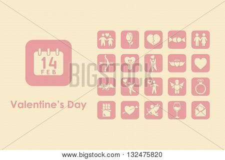 It is a set of Valentiney Day simple web icons