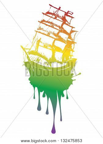Old sail ship frigate in the sea detailed sketch.