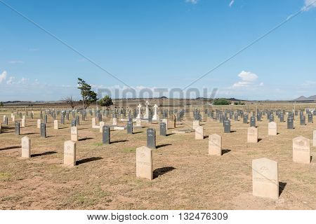 SPRINGFONTEIN SOUTH AFRICA - FEBRUARY 16 2016: The cemetery with graves of 299 British soldiers who died in hospital and 663 Boers who died in the concentration camp in the Second Boer War 1899-1902