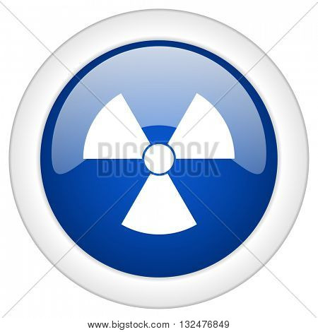 radiation icon, circle blue glossy internet button, web and mobile app illustration