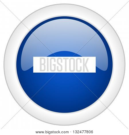 minus icon, circle blue glossy internet button, web and mobile app illustration