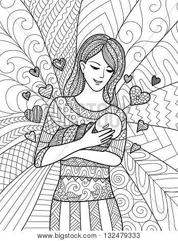 Mother holding her baby, clean line doodle art design for coloring book for adult, cards and so on