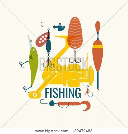 Vector illustration of a Fishing reel hooks float lures bait in flat style. Vector elements can be used as Icons and illustrations for the design site infographics poster advertising.