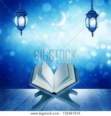 Ramadan Kareem background.Quran on a wooden book stand