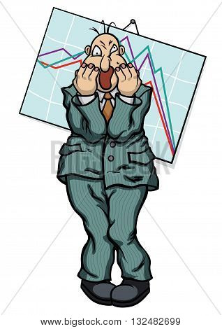 Illustration cartoon frightened businessman near the chart going down