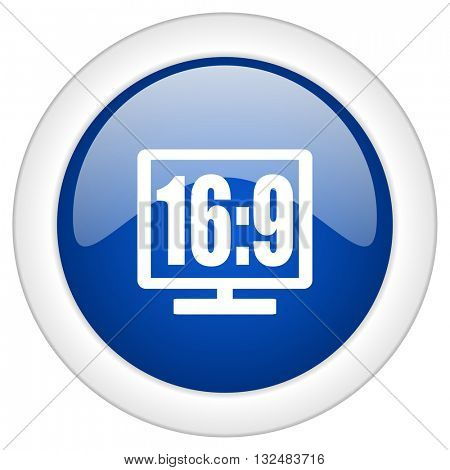 16 9 display icon, circle blue glossy internet button, web and mobile app illustration